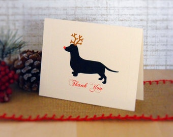 Christmas Thank You Cards, Dachshund Reindeer Holiday Thank You Card Set