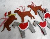 6 x Felt Dogs Puppys scottie daschund westie ornaments for hanging on Christmas tree