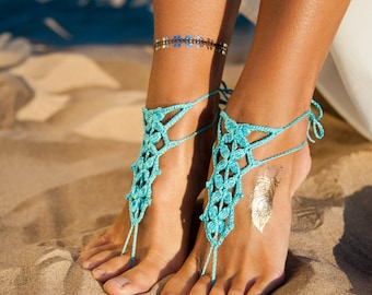 Turquoise Barefoot Sandal, Feet thongs, Crochet Foot jewelry, Women's Fashion Accessory, Beach sandal, Gift for her, Unique gift