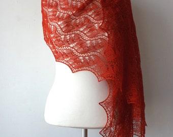 Dark orange lace shawl, hand knitted Estonian lace shawl, Merino, Silk, Cashmere