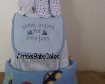 The Floating Cars 4 Tier Baby Boy Diaper Cake
