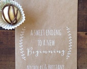 Wedding Cookie Bags, Laurel Rustic Candy Buffet Sacks, Custom Wedding Favors, 25 Cake Bags,  Recycled Brown Paper Personalized Printed Sack