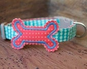 Bone Dog Collar - Two-Toned Turquoise Bubble Dot with Dark Coral Bone and Turquoise Stitching