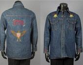 Denim Shirt Jacket -- Men's Vintage 1970s Big Yank U.S. Bicentennial Cross Stitch Cotton Denim Shirt Jacket -- Men's Size M/L