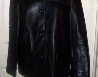 Vintage Ladies Leather Coat - Winlet - Size S - Hip Length