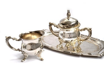 Vintage Silver Plate Sugar and Creamer with Tray Set,antique silver plate tableware, Italian small sugar bowl and creamer