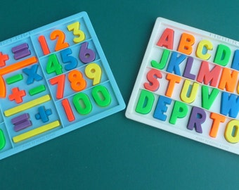 Vintage FISHER PRICE  Magnetic Alphabet Board 673 & Number Board 674 Letter Tray Educational Set