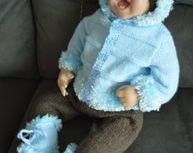 Baby Hooded Sweater, Long Pants, Beanie Hat and Booties in Pale Blue and Brown to fit 0-3 month Baby or a 22 inch reborn Baby Doll