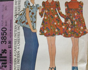 Pullover Dress Sewing Pattern McCalls 3850 Puffed Sleeves Bust 33.5 1970s