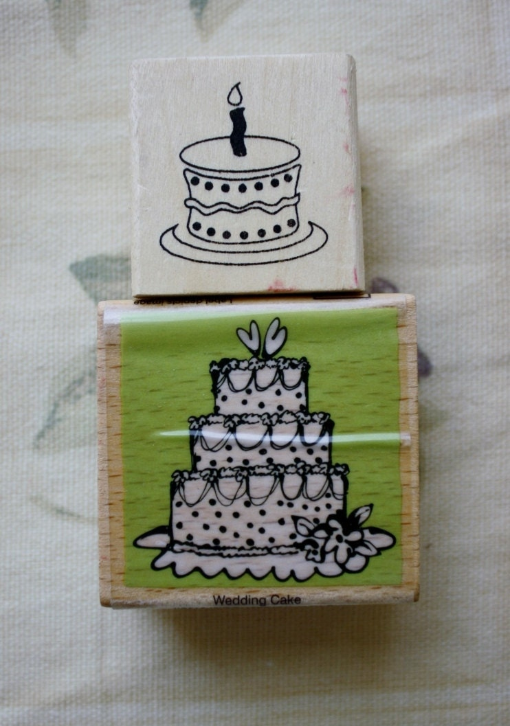 set of two happy birthday cake wedding cake rubber stamps. Black Bedroom Furniture Sets. Home Design Ideas