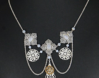 Stunning Steampunk Victorian filigree, and blue lace agate necklace by Sylvan Creations.