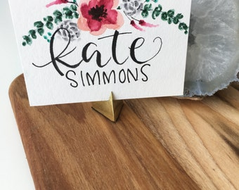 Hand Painted Custom Watercolor Place Cards in Garland