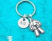 Martial Arts Keychain, BJJ Keychain with Initial, Brazilian Jiu Jitsu, BJJ, Karate, MMA Keychain, Martial Arts, Karate Keychain, Gi Keychain