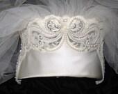 VICTORIAN REVIVAL Vintage Pearl Bead Satin Bow Bridal Crown Tiara Headpiece WEDDING Veil Edwardian Nouveau Downton Gothic Millinery Fashion