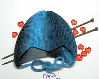 Baby boy hat - baby girl hat - helmet hat - earflap hat - knit helmet hat - blue hat - black hat - merino hat - gift for baby -kids knitwear