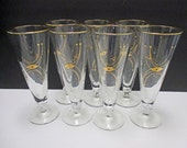 Vintage Glass Libbey Rock Sharpe Adagio Pattern - Atomic Mid Century - Geometric Gold Pilsner Glasses - Set of 7