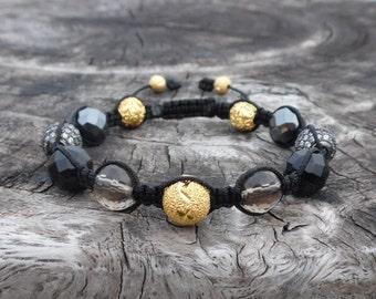 Gold, Onyx, Smoky Quartz, Hemtite, & Micro Pavé CZ's Shamballa Bracelet