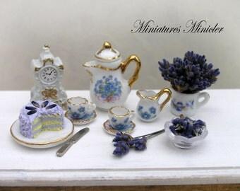 Miniature Dollhouse Lavender Decoration Set