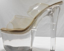 Vintage Lucite High Heels Stripper Exotic Dancer Nightclub Shoes Made by Pleaser