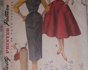 Vintage 1955 Dress Pattern Size 14 1950's Simplicity Dress Pattern Rockabilly