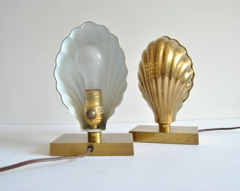 Brass Clam Table Lamps Night Lights by Chapman 70s Glam
