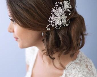 Floral Bridal Hair Comb, Flower Wedding Hair Comb, Rhinestone Bridal Hair Clip, Bridal Hair Accessory, Hair Comb for Wedding ~TC-2281
