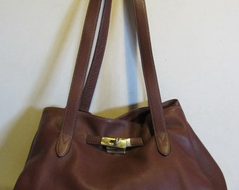 Gorgeous brown leather shoulder bag, italy