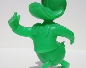 Vintage Walt Disney Donald Duck Green Plastic Toy Louis Marx & Company Collectible Disney Figurine Use as Home or Nursery Decor, Disneyana