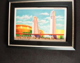 Framed 1939 Art deco New York Worlds Fair Postcard Architecture Corona Gate North Architect gift lithograph print