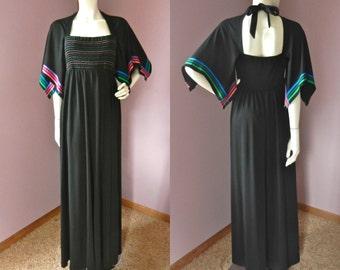 Vintage 70's Jonathan Logan Black Rainbow Ribbon Trim Flutter Sleeve Smock Bust Maxi Dress M/L