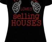 This Girl Loves Selling Houses Bling Shirt - Real Estate Agent Bling Shirt - Property Management Bling Shirt - Realtor Shirt - Glitter Shirt