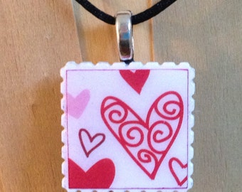 Heart Necklace - Sending your love - Unique Postage Stamp pendants - Valentine Necklace