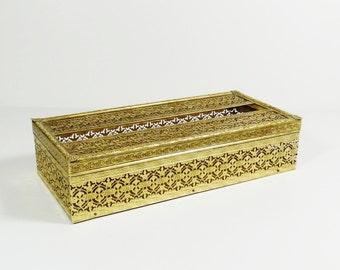Hollywood Regency Gold Filigree Metal Tissue Box Cover - Gilt Tissue Box Cover