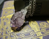 Wire Wrapped Amethyst Chunk Gemstone Pendant Silver Wire Wrapping Crystal Necklace February Birthstone