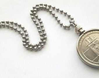 Hot Springs National Park Coin Necklace with Stainless Steel Ball Chain or Key-chain - 2010 - National Park Quarters