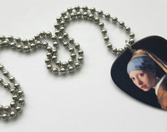 The Girl with a Pearl Earring Guitar Pick Necklace with Stainless Steel Ball Chain - fine art accessories - artist Vermeer