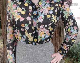 VINTAGE FLORAL BLOUSE 1970's Ship N Shore Limited Edition Size Small