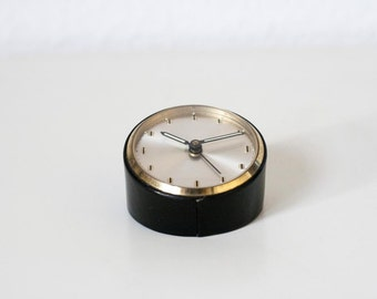 Rare and Stunning Small Round Vintage German Alarm Clock Black Leather Bound Desktop Clock Paperweight Clock