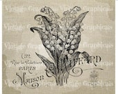 French Lily of the Valley instant clip art flower Digital download graphic image for iron on fabric transfer burlap decoupage pillow  gt114