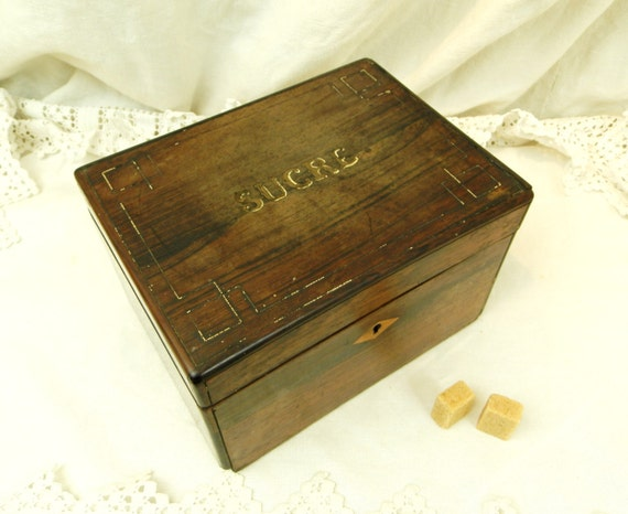 Antique French Victorian Inlaid Wooden Sugar Box, Napoleaon III Caskette for Sucre from France, Chateau Chic Brocante Retro Home Decor