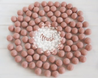 Wool Felt Balls - Size, Approx. 2CM - (18 - 20mm) - 25 Felt Balls Pack - Color Musk-5027-Rosy Brown Felt Balls - 2CM Wool Balls - Rosy Brown