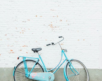 Bicycle Photo, Blue Bike Parked, Europe Travel Photography, Minimalist, White Brick Wall, Dutch Bike, Amsterdam, Delft, Holland Wanderlust