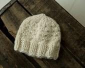 newborn hat beanie. off white wool