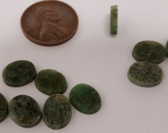 4 Vintage Genuine Wyoming Jade 10x8mm. Oval Smooth Dome Cabochons  D496