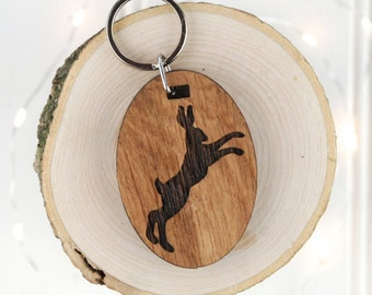 Boxing Hare Keyring - Animal Lover Gift - Birthday Gift For Him - Personalised Keyring - Wooden Keyring - Hotel Keyring - Garage Key