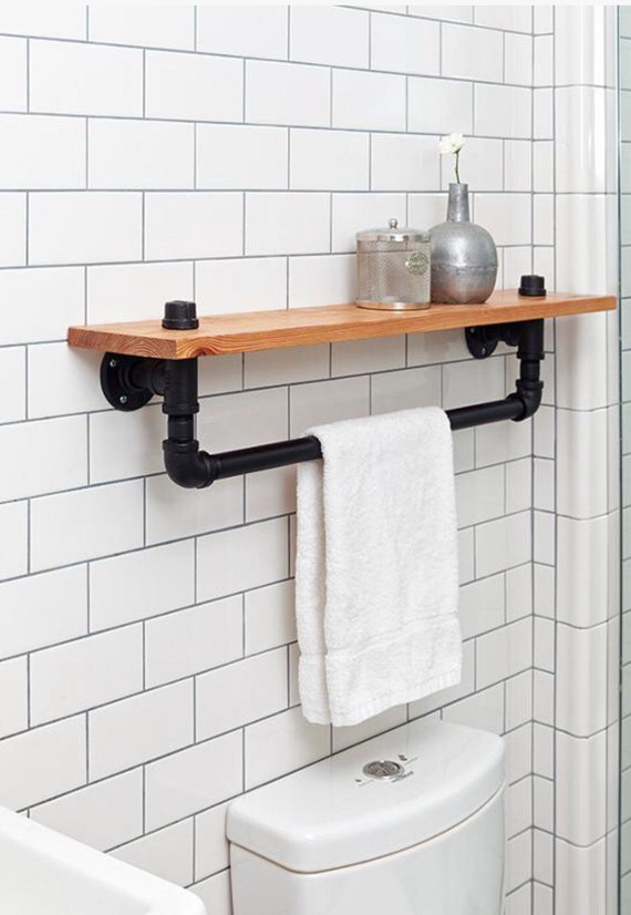 Black Rustic Bathroom Vanity: Industrial Towel Rack Shelf Rustic Bathroom Accessory Black