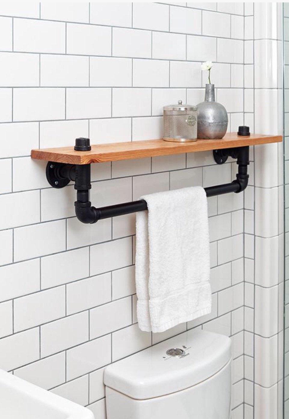 Industrial towel rack shelf rustic bathroom accessory black for Bathroom accessories racks