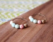 pastel multi czech glass hoop earrings