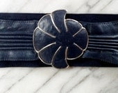 Vintage Criterion Soft Navy Leather Belt with Silver Mod Buckle