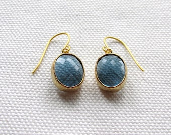 Montana Blue Earrings Oval Modern Gold Navy Blue Sapphire Earrings Bezel